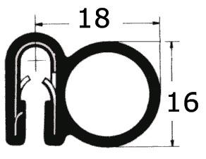 Klemmprofil 18x16mm, Klemmbereich 2-4mm Schwarz, 25 Meter